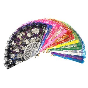 Wholesale 6 Colors Floral Lace Tulle Hand Fan Folding Wedding Birthday Party Wedding Decor Manual Fans
