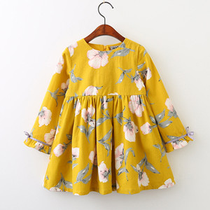 Wholesale Baby Girls Dress New Autumn Fashion Flowers Long Sleeve Printed Dresses Kids INS Floral Cotton Dress Children Clothing Colors