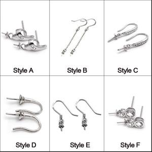 925 Sterling Silver Earrings Settings Fitting Charms Dangle Earring 6 Styles Drop Earrings Jewelry Women Statement Jewelry