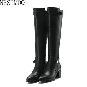 Wholesale NESIMOO Genuine Leather Over The Over The Knee Boots Autumn Spring Boots Pointed Toe Casual Women Size