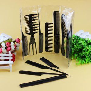 Wholesale plastic comb set for sale - Group buy Black Set Professional Hair Brush Comb Salon Barber Anti static Hair Combs Plastic Hairdressing Combs Hair Care Styling Tools