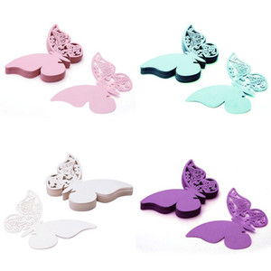 Wholesale Table Mark Name Paper Laser Cut Cards Butterfly Shape Wine Glass Place Cards For Wedding Party Decoration
