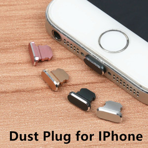 Aluminium Alloy Dust Plug Mobile Phone Charge Port Stopple for Apple IPhone 4 5 5s 6 6s 7 8 X Plus Silver Black Gold Rose