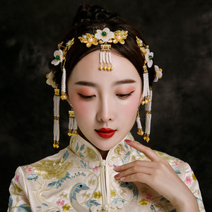 Handmade Bride Step Shake Ancient Chinese Wedding Show Wo Hair Accessories Jewelry Set Beaded Tassel Hairpins Frontlet Headdress