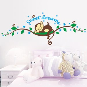 Wholesale sticker monkey Sweet Dreaming Sleeping monkey on the trees wall stickers for kids rooms wall decal Mural Kids Nursery Bedroom Decora