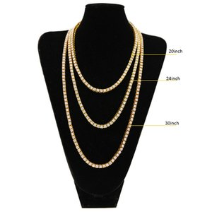 Wholesale Fashion Luxury Mens Chains Hip Hop Row Alloy Necklace Full Rhinestone Single Row Men Necklace European and American Jewelry