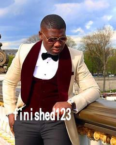 Popular Design Groom Tuxedos One Button Beige Shawl Lapel Groomsmen Best Man Suit Wedding Mens Suits (Jacket+Pants+Vest+Tie) J503