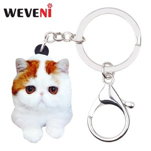 Wholesale WEVENIAcrylic Cartoon Cute Kitten Cat Key Chains Keychains Rings Novelty Animal Jewelry For Women Girls Teens Bag Purse Charms