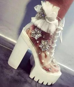 Wholesale fashion woman diamond white transparent handmade rhinestone pearl lace platform thick heel woman ankle boots platform boots lace