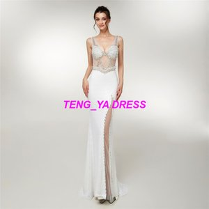 2018 Wonderful Glaring Beaded Mermaid Sheath Column V Neck Split Evening Dress D006 on Sale