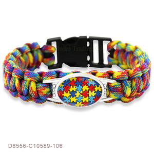 Wholesale paracord charms for sale - Group buy Puzzle Piece Autism Awareness Hope Colorful mm Glass Cabochon Outdoor Survival Paracord Charm Bracelets Men Women Jewelry