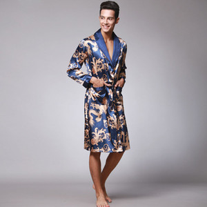 Wholesale Male Chinese Style Dragon Robe Bathing Home Sleep Wear Silk Satin Soft Embroidery Loose V neck Men Pajamas Nightgown Kimono