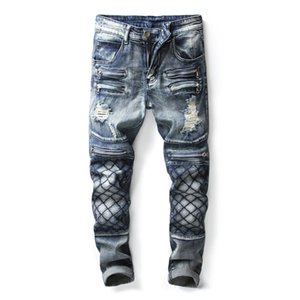 Wholesale 2018 Nostalgia Multi Fake Zippers Hole Spliced New Fashion Designer Jeans Men Straight Vintage Blue Men s Ripped Denim Trousers