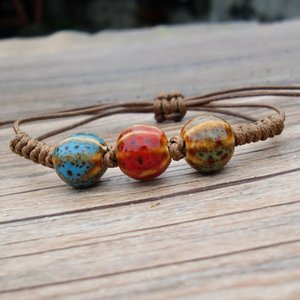 Wholesale Ceramic Bracelet Retro Watermelon Porcelain Bead String Handmade Braided Rope Chinese Ethnic Style Personality Fashion Gift Women Jewelry