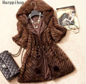 Spring Autumn Women's Genuine Real Knitted Mink Fur Coat Jacket Winter Women Fur Outerwear Coats Overcoat 3XL C18111901