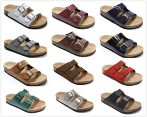 Wholesale New Brand Arizona Brik Men Cork Flat Heel Sandals Women Fashion Summer Beach Casual Shoes With Buckle Genuine Leather shoes