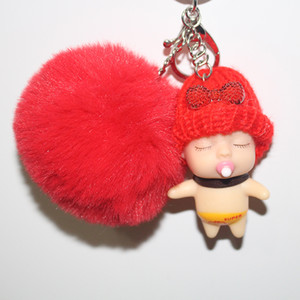 Wholesale Factory Sale Creative Mini Confused Sleeping Baby Doll Hair Ball Key Ring Plush Doll Keychain Christmas Gift Birthday Car Phone Bag Pendant