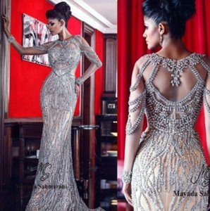 Evening dress Long Dress Ribbon O-Neck Sexy Dazzing Beading Beaded Long Sleeve Ruffle Scoop Sheath Zuhair Cope murad Kim kardashianopebBbCC on Sale