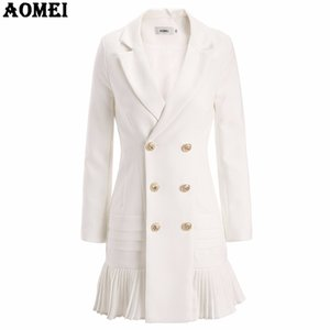 Wholesale New Fashion Suit Women Blazer Workwear White With Ruffle Office Ladies Long Blaser Clothing Fall Golden Button Spring Winter Top