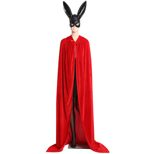 Party Supply Adult Witch Long Purple Green Red Black Halloween Cloaks Hood and Capes Halloween Costumes for Women Men