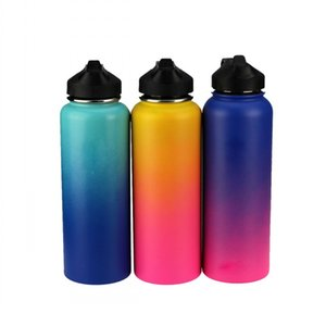 Wholesale Outdoor Water bottle oz Sport Insulated Stainless Steel Water Bottle Wide Mouth Ombre Water Bottle Filp Lids With Straw DHL FEDE