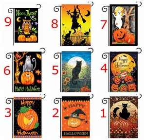 Wholesale 30 cm Halloween Day pumpkin print Garden Flag Polyester DIY Yard Hanging Flag House Decoration Portable Banner colors choose free ship