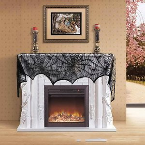 Wholesale Halloween Knitted Curtain Lamp Cover Black Spider Web Ghost horrible Festival Fireplace Stove Cloth party home decoration
