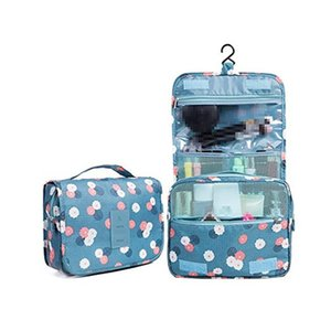 Wholesale Toiletry Bag Multifunction Cosmetic Bag Portable Makeup Pouch Waterproof Travel Hanging Organizer Bag for Women Girls Blue Flowers