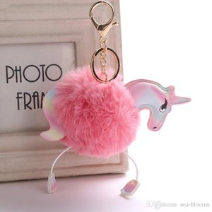 Wholesale Cute Unicorn Pony Fluffy Keychain Artificial Rabbit Fur Ball Key Chain Pompom Key Ring Bag Keyring Car Pendant Accessories Xmas Gift B764SF