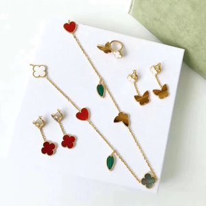 Wholesale Hot 925 silver four leaf flower jewelry set for women wedding necklace bracelet earrings ring Butterfly clover mother shell multi jewelry