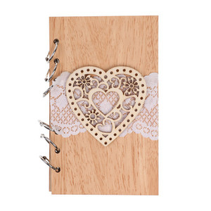 Wedding Guest Signature Books Couple Wooden Notebook Vintage Lasercut Wood Journal Wedding Decorationheart Wooden Notebook on Sale