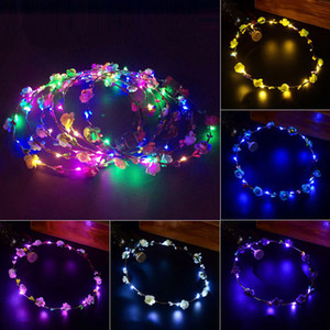 Newly Wedding Xmas Party Women Girls LED Light Up Flower Sweet Princess Headband Hair Wreath Garland