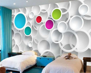 Wholesale Modern D Wallpaper Personalized custom Photo wallpaper Colorful Circles Wall Mural Room decor Living Room Bedroom Home decoration Free ship