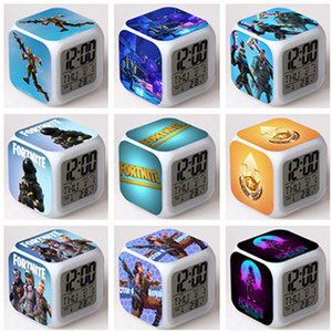 Fornite Battle Royale Alarm Clock With Led Light Digital Clocks Colorful Flash Touch Light Desktop Desk Table Clocks Xmas Gift Free shipping