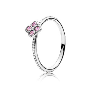 Wholesale 925 Sterling Silver Pink CZ Oriental Blossom Women Finger Rings for Women Engagement Wedding Original Ring Charms Jewelry