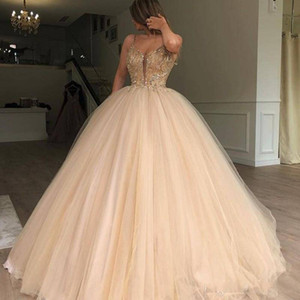 Wholesale Gorgeous Fluffy Prom Dresses Sexy Spaghetti Straps Beads Sequins Tulle Floor Length evening dresses 2018 pageant Celebrity Party dresses