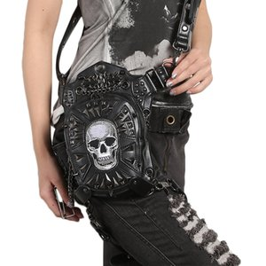 Wholesale Fashion Gothic Steampunk Skull Retro Rock Handbags Men Women Waist Bag Shoulder Bag Phone Case Holder women messenger Bag