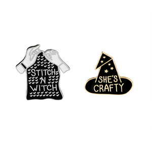 Wholesale Black Witch Hat And Sititch Sweater Enamel Brooch She's Crafty Stitch and Witch Lapel Pin Girl Badge Denim Collar Accessories