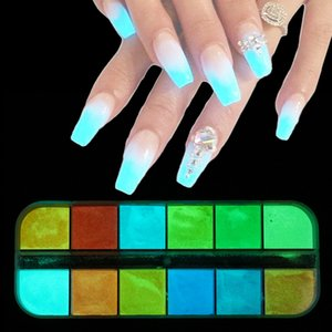Wholesale 1box Fluorescent Nail Art Glitter Powder Luminous Glow In The Dark Nail Decoration Manicure UV Gel Polish DIY Dust New Color