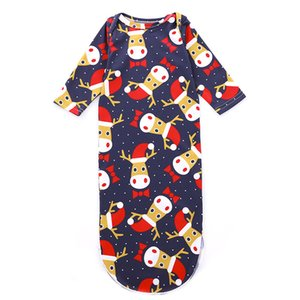 Wholesale Newborn Baby Sleeping Bag Christmas Elk Bow Dot Santa Hat Cartoon Printed Girl Boy Designer Nightgowns Tie Knotted Long Sleeve Winter Pajama