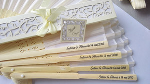 Wholesale 50 Personalized Luxurious Silk Fold hand Fan in Elegant Laser Cut Gift Box Party Favors wedding Gifts printing