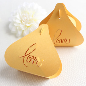 Wholesale Yellow love wedding favor box heart DIY laser cut candy box favor festival party supplies multi colors