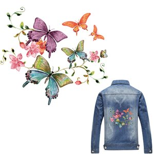 Wholesale Flower Butterfly Patch Iron On Appliques T shirt Dresses cm A level Washable Heat Transfer Stickers Clothes DIY Printing