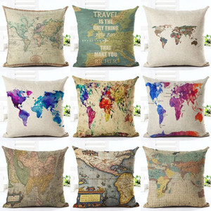 Wholesale Vintage World Map Style Pattern Cushion Cover Cotton Linen Pillow Cover Cushion Cover Pillow Case Home Decor