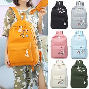 Wholesale 4pcs set Fashion Canvas Casual Fabric Backpacks Large Female Travel Backpack For School Supplies Girls Shoulder Tote Bag