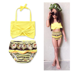 2018 Hot Summer Girls Yellow Lace-up Halter Hanging Neck Tops Black Rhombus Printed Briefs Split Swimsuits Kids Spa Swimsuits