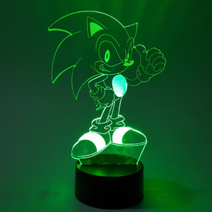 Sonic 3D Nightlight Visual Illusion LED RGB Changing Sonic The Hedgehog Action Figure Novelty Light For Christmas Gifts