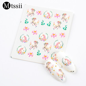 Mtssii 1Pc Nail Art Sticker Unicorn Mermaid Rainbow Cross Horse Cartoon 3D Water Transfer Decal Manicure Decoration Tips