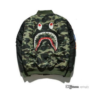 Wholesale 2017 New A BATHING A APE ULTIMATE 1ST CAMO LIGHTWEIGHT MA1 BOMBER JACKET GREEN MENS Bap Shark Head MA1 Army Flight Bomber Coat