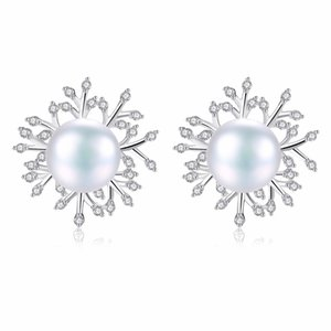 Wholesale Classic Clear Zircon Snowflake Sterling Silver Stud Earrings White Natural Pearl Brincos for Women Girl Party Gift
